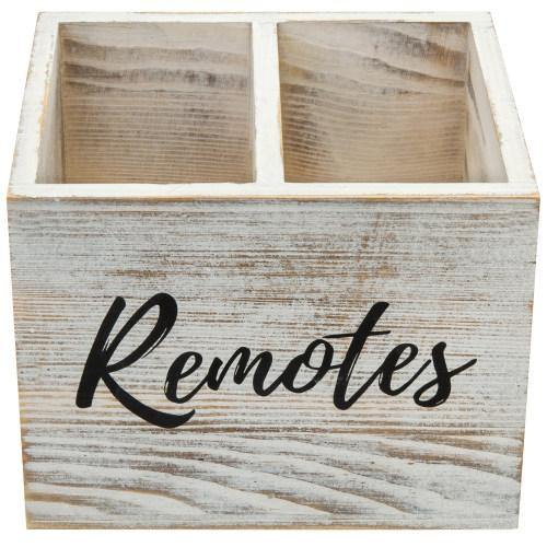 Shabby Whitewashed Wood Remote Control Organizer-MyGift