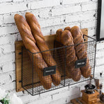 Wall Mounted Bakery Display with Rustic Wood and Metal Wire-MyGift