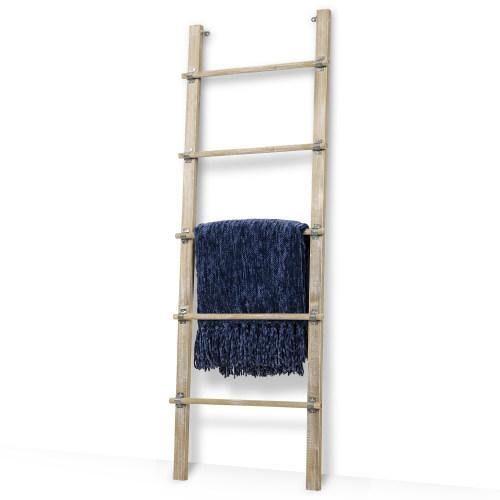 Distressed Brown Solid Wood Blanket Ladder w/ Rustic Metal Cuffs