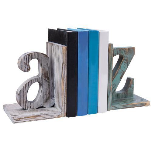 Shabby Chic Vintage White & Blue Wood Alphabet Bookends-MyGift