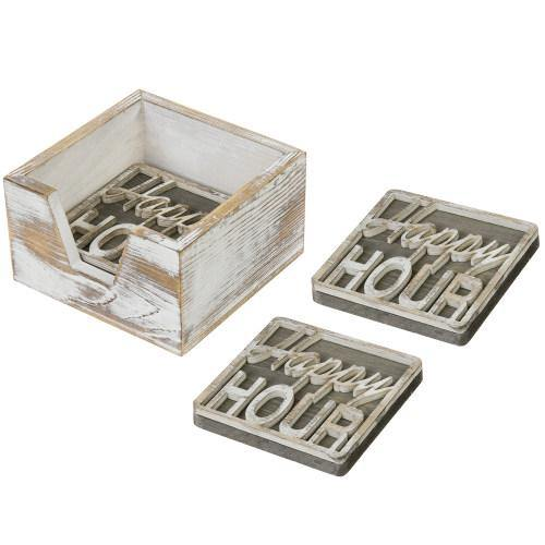 Rustic Whitewashed Wood Happy Hour Coasters Set with Tray-MyGift