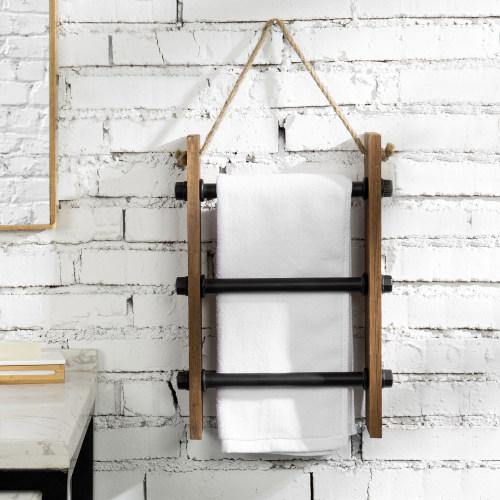 Wall-Hanging Industrial Pipe & Burnt Wood Hand Towel Ladder