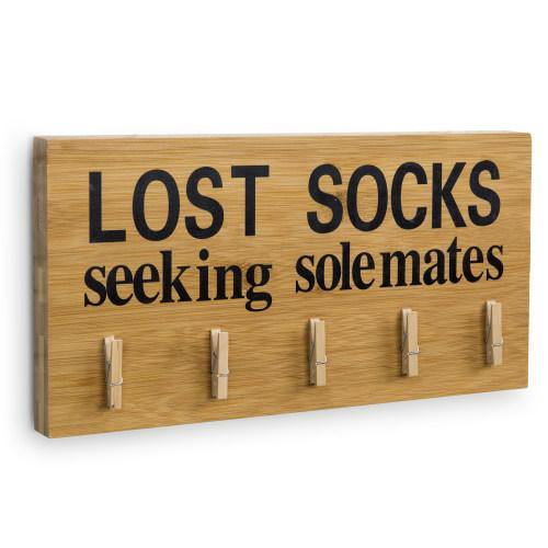 "Funny Bamboo Laundry Room Decoration ""Lost Socks Seeking Solemates""-MyGift"