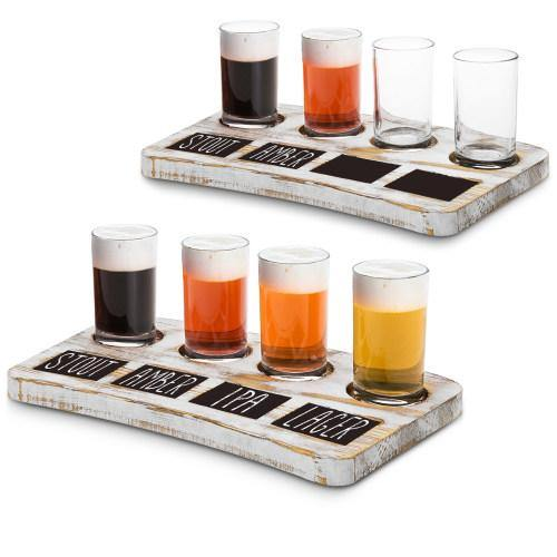 Whitewashed Wood Beer Flight Tray with Chalkboard Labels, Set of 2 - MyGift