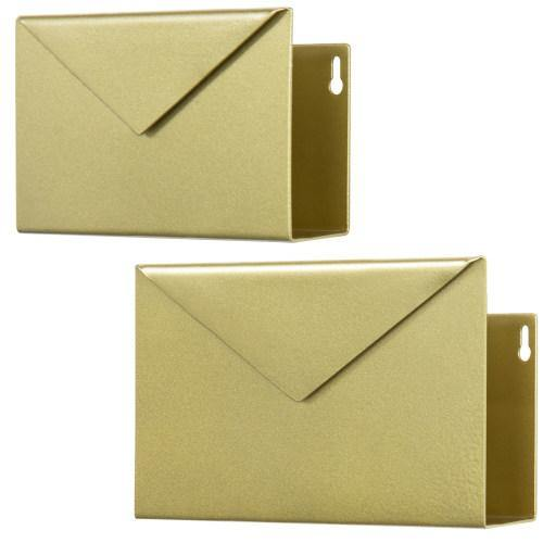 Wall-Mounted Brass Metal Mail Sorter with Envelope Design, Set of 2-MyGift