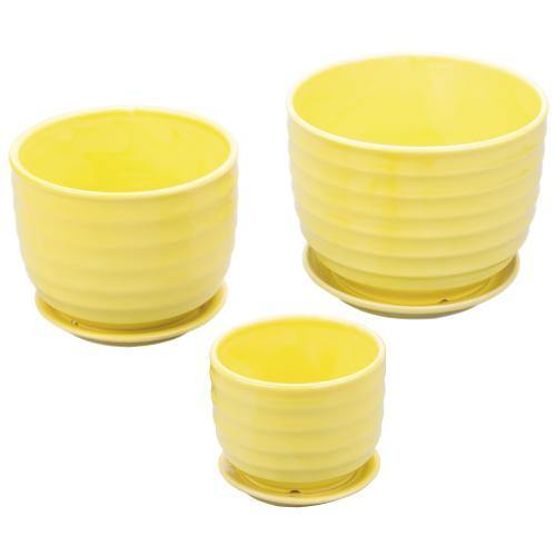 Yellow Ceramic Flower Pots, Set of 3 - MyGift
