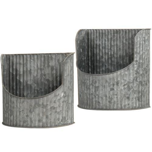 Rustic Silver Galvanized Metal Wall Mounted Planter, Set of 2 - MyGift
