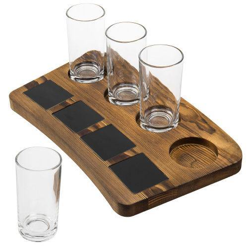 Dark Brown Wood Beer Flight Tray with Chalkboard Labels - MyGift