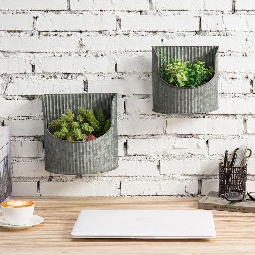 Rustic Silver Galvanized Metal Wall Mounted Planter, Set of 2