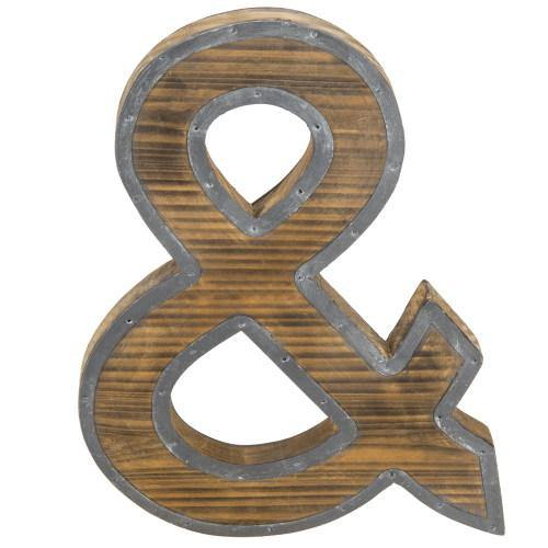 Industrial Style Burnt Wood and Galvanized Metal Ampersand Decor - MyGift