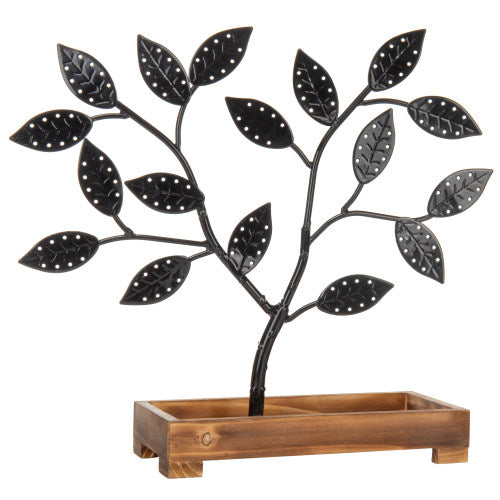 Black Metal Jewelry Tree with Wooden Trinket Tray-MyGift