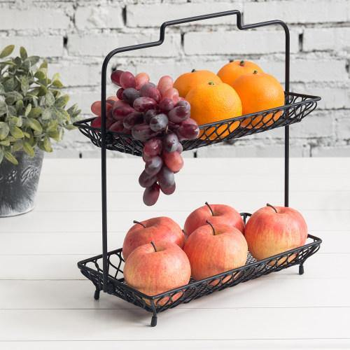 Vintage Design Black Metal Wire Fruit Basket - MyGift