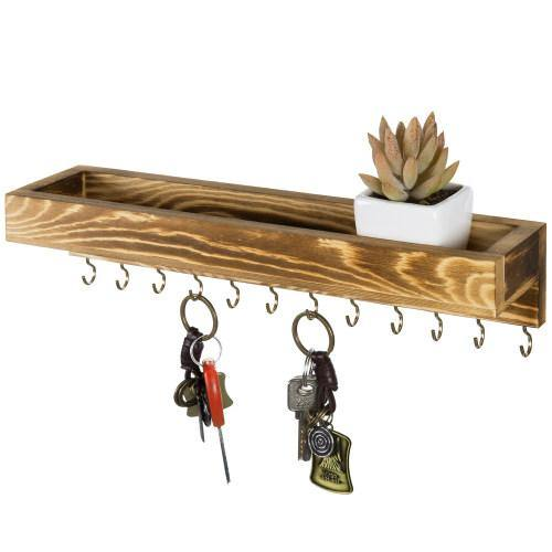 Rustic Burnt Brown Wood Jewelry Hanger with Hooks-MyGift