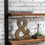 Industrial Style Burnt Wood and Galvanized Metal Ampersand Decor-MyGift