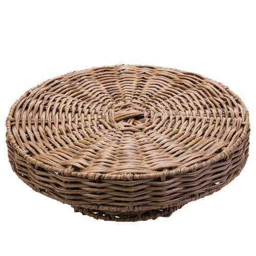 Rustic Round Coffee-Colored Woven Cake and Dessert Riser - MyGift