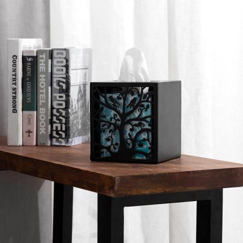 Black Metal Tree & Bird Design Tissue Box Cover