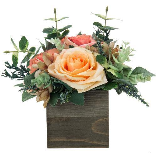 Artificial Rose Arrangement in Square Gray Wood Vase-MyGift