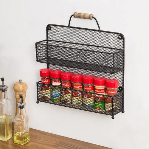 Black Metal Mesh Spice Rack with Rustic Wood Handle - MyGift