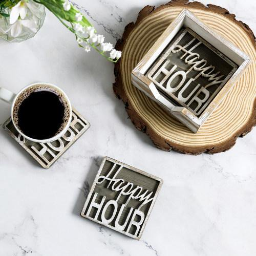 Rustic Whitewashed Wood Happy Hour Coasters Set with Tray