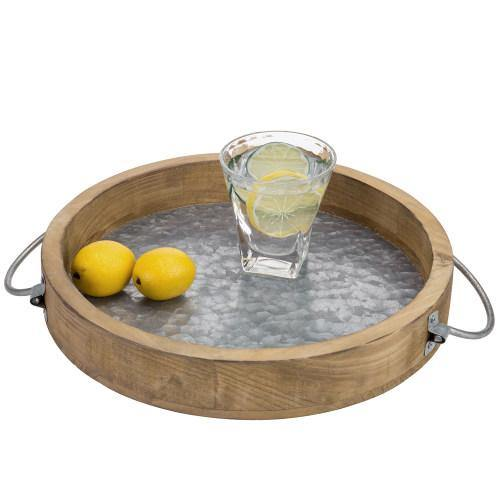 12-inch Burnt Wood & Galvanized Metal Tray - MyGift