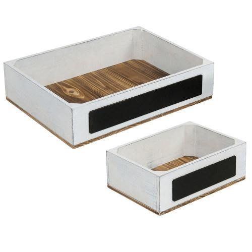Burnt Wood and Vintage White Crate Style Dessert Riser, Set of 2-MyGift