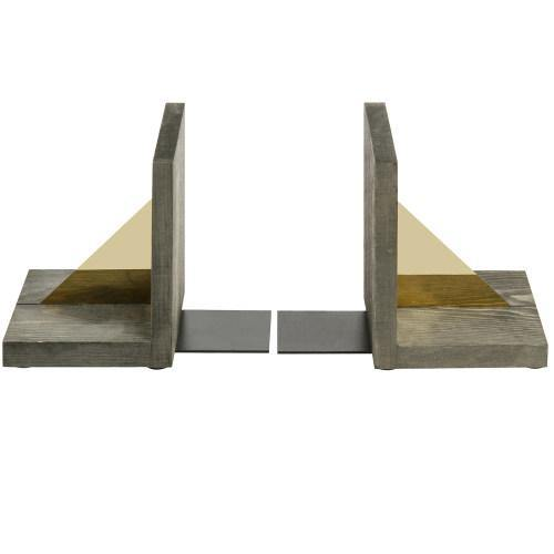 Gray Wood Bookends with Angled Brass Accents, Set of 2-MyGift