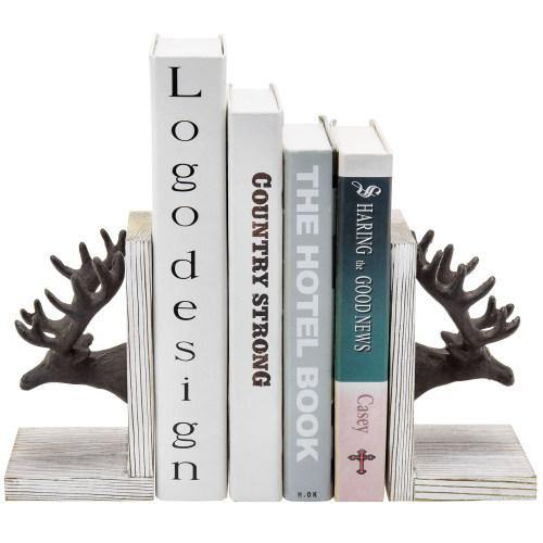 Cast Iron Elk Head and Whitewashed Wood Bookends, Set of 2