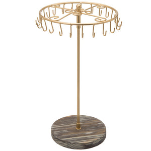 Rotating Brass Metal and Torched Wood Jewelry Tower-MyGift