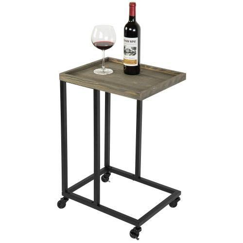 Gray Wood & Black Metal Under Couch Side Table with Wheels - MyGift