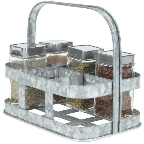 Galvanized Silver Metal Spice/Condiment Holder-MyGift