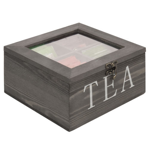 Rustic Gray Wood Tea Storage Box with Clear Lid-MyGift