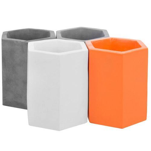 Modern Hexagonal Multi-Colored Concrete Pencil Cups, Set of 4-MyGift