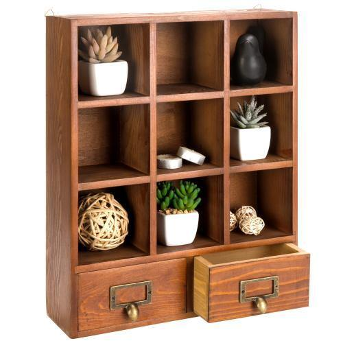 Freestanding Wooden Shadow Box w/ 2 Drawers - MyGift