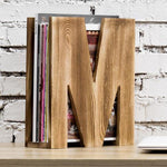 Burnt Brown Wood M-Shaped Magazine Organizer-MyGift