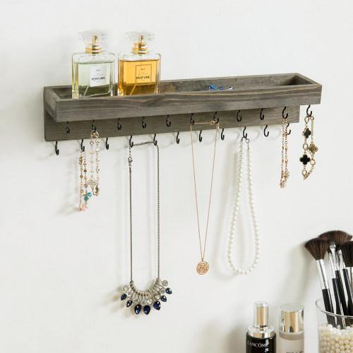 Vintage Gray Wood Jewelry Shelf with Hooks-MyGift
