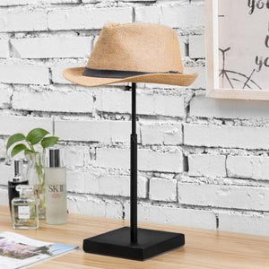 Adjustable Black Metal Hat & Wig Tabletop Display Stand