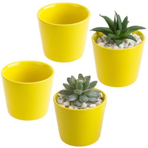 Small Yellow Ceramic Planter, Set of 4-MyGift