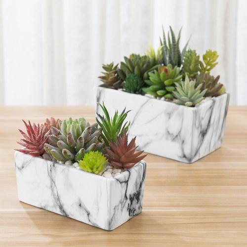 Marble Style Nesting Rectangular Ceramic Planter, Set of 2 - MyGift
