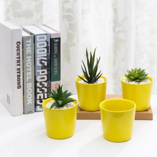 Small Yellow Ceramic Planter, Set of 4