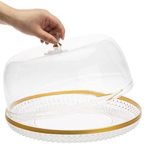 Acrylic Brass Rim Diamond Pattern Cake Platter w/ Bell Dome Cover-MyGift