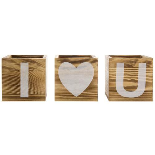 """I Love You"" Design Burnt Solid Wood Flower Pots-MyGift"