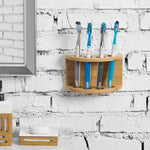 Wall Mounted Natural Bamboo Toothbrush Holder