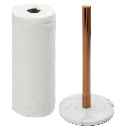 White Marble & Brass Plated Metal Paper Towel Holder - MyGift