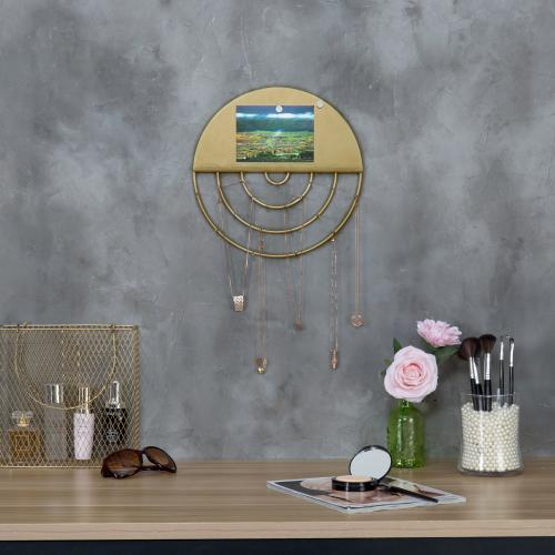 Brass Tone Metal Wall Mounted Jewelry Display with Memo Board-MyGift