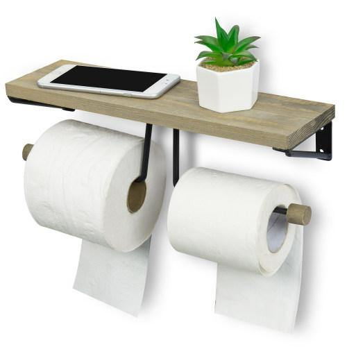 Gray Wood & Black Metal Dual-Roll Toilet Paper Holder