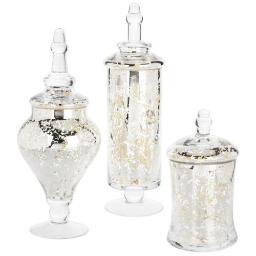 Silver Mercury Glass Apothecary Jars, Set of 3-MyGift
