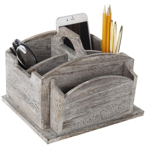 Vintage Gray Wood Rotating Desktop Office Supplies Organizer-MyGift