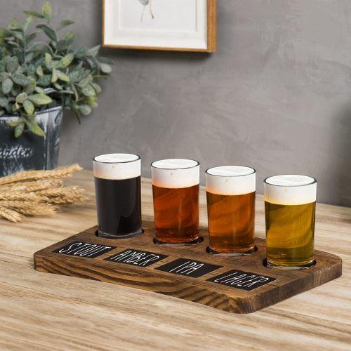 Dark Brown Wood Beer Flight Tray with Chalkboard Labels, Set of 2-MyGift