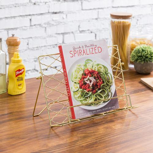 Brass Tone Metal Wire Cookbook/Tablet Stand-MyGift