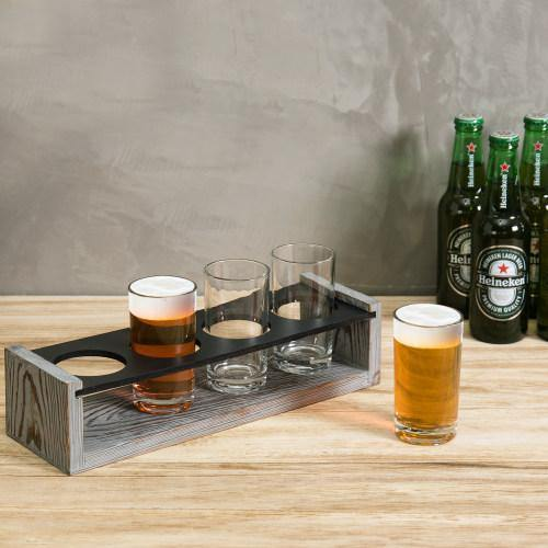 Vintage Gray-Washed Wood Beer Tasting Flight Set